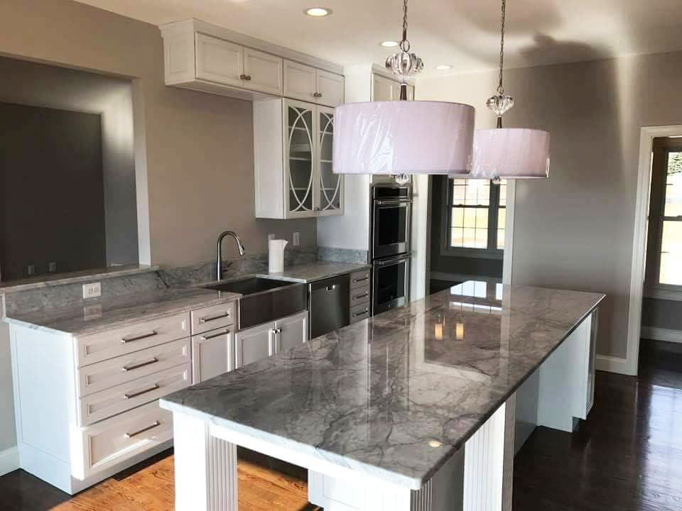 Granite Kitchen with Farmhouse sink and huge island