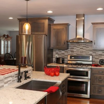 Rustic Kitchen with Granite Countertops with farmhouse sink