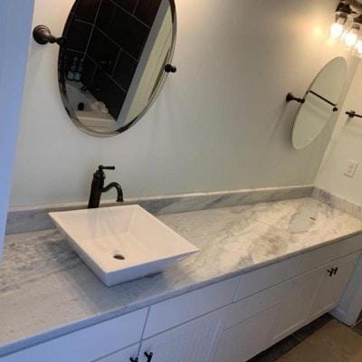 Granite Bathroom Vanity with Rectangle Vessel Sink