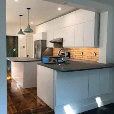 Grey Quartz Concrete Look Kitchen Countertops