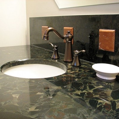 Closeup of Vanity with Stone Accents