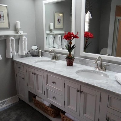 White Carrera Marble double bowl Vanity Top