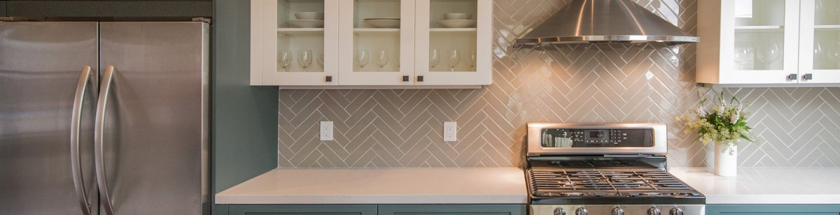 Beautiful herringbone tile for kitchen backsplash