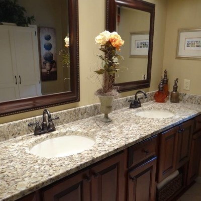 Giallo Ornamental double bowl Vanity top