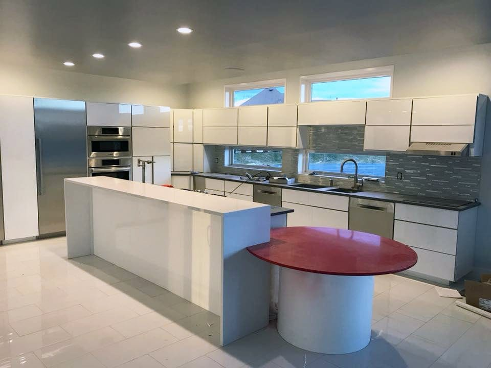 modern quartz red kitchen