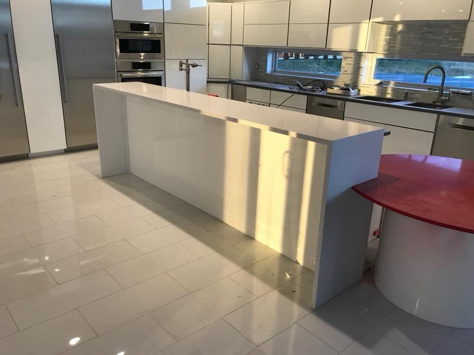 modern quartz red kitchen