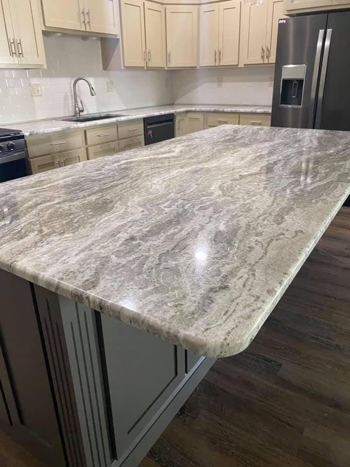 Gray Fantasy Granite Kitchen Countertops Closeup of Island
