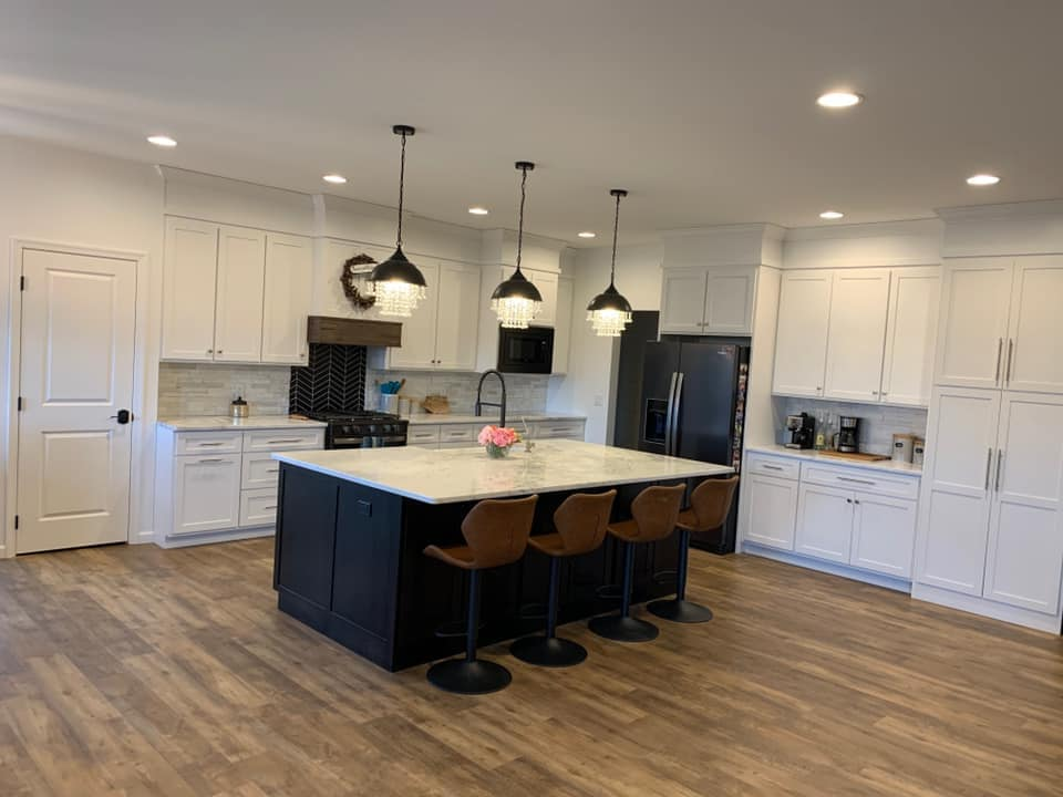 Wide view of mont blanc marble countertops