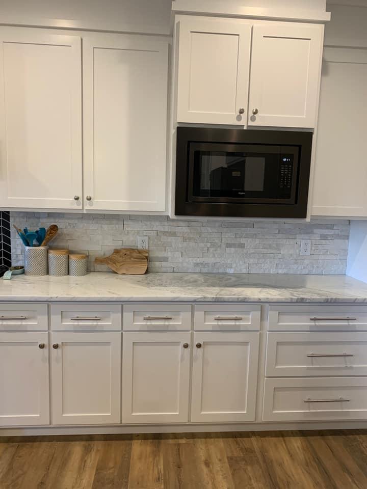 Close up of mont blanc marble kitchen and tile backsplash